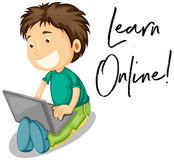 Boy works on computer and phrase learn online Royalty Free Stock Images