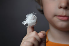 Boy with a wound. On his finger Stock Image