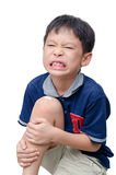 Boy with wound on knee cover by plaster Royalty Free Stock Image