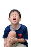 Boy with wound on knee cover by plaster Royalty Free Stock Photos