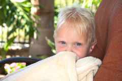 Boy wrapped in towl royalty free stock images