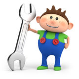 Boy with wrench Royalty Free Stock Photos