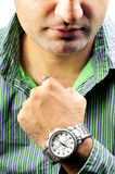 Boy with wrist watch Stock Photo