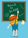 The boy writes on a blackboard. The boy writes on a blackboard - Back to school. Vector illustration Royalty Free Stock Photography