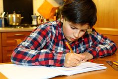 boy writes on his notebook Stock Images