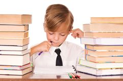 Boy writing Royalty Free Stock Photo
