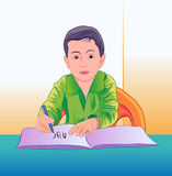 Boy writing. Boy sitting and writing in notebook Royalty Free Stock Photos