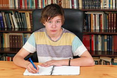 Boy writing Stock Photography