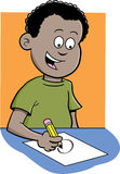 Boy writing. Cartoon illustration of a boy writing and sitting at a desk Royalty Free Stock Images