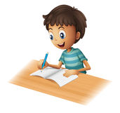 A boy writing. Illustration of a boy writing on a white background Stock Photography