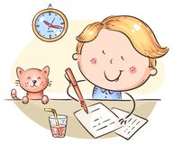 Free Boy Writing A Letter Or Making Homework At The Desk Stock Images - 165804064
