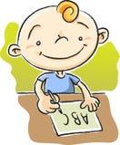 Boy Writing ABC. Illustration of boy writing ABC Royalty Free Stock Photo