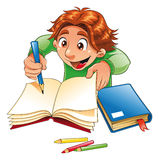 Boy writing and drawing Stock Photo