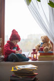 Boy, writing letter to Santa Royalty Free Stock Images