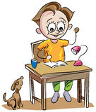 Boy writing. Little boy writing with table chair line art cartoon royalty free illustration