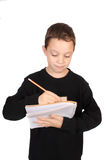 Boy writing in notebook Royalty Free Stock Photo