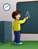 Boy writing using chalk Royalty Free Stock Images