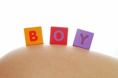 Boy written with colorful alphabet cubes Stock Photography