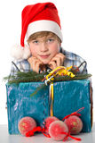 Boy wth santa claus cap Royalty Free Stock Photography