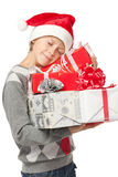 Boy with Xmas gifts Stock Images