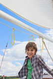 Boy yachting Royalty Free Stock Image