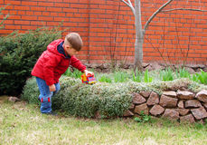 The boy in the yard Stock Photography