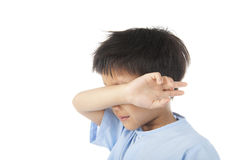 Boy yawn after woke up in the morning Royalty Free Stock Photos