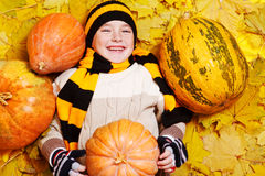 Boy on yeallow autumnal leaves Stock Photo