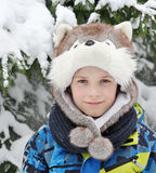 Boy 8 years of age in the header as a dog Royalty Free Stock Images
