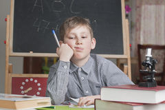 Boy of 8 years learns house lessons Stock Photos