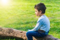 Boy 4 years old sitting alone on a log. Sad boy sitting alone on a log in the meadow royalty free stock photos