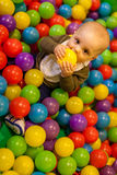 Boy with yellow ball Stock Photography