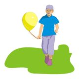 Boy and yellow balloon Royalty Free Stock Photography