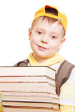 Boy in yellow with books Stock Photo