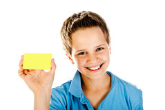 Boy with yellow card Stock Photos