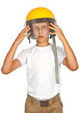 Boy with yellow helmet Stock Photo