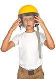 Boy with yellow helmet Stock Photo