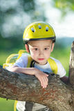 Boy in yellow helmet Royalty Free Stock Photography