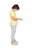 Boy with yellow shirt giving an order Royalty Free Stock Photo