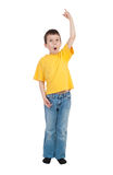 Boy in yellow shirt Royalty Free Stock Photography