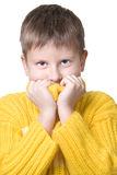 Boy in yellow sweater Royalty Free Stock Images