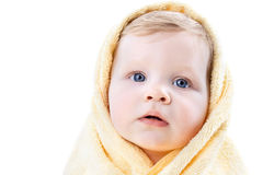 Boy in a yellow towel Royalty Free Stock Image