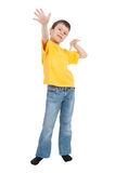 Boy in yellow tshirt saw the air Stock Images