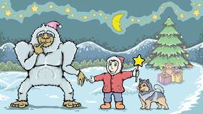 Boy and yeti monster in christmas day Royalty Free Stock Image
