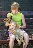Boy with a young lion. In hands Royalty Free Stock Photo