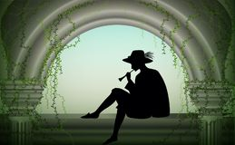 Boy or young man in hat sit near column and play trumpet, player romantic melody, scene, shadow, Royalty Free Stock Image