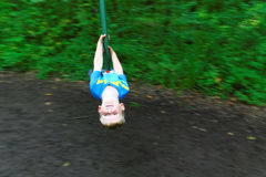 Boy on Zip Wire Having Fun Stock Photography