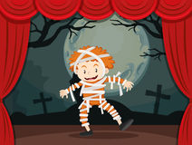 Boy in zombie costume on stage Stock Photos