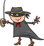 Boy in zorro costume cartoon Stock Images