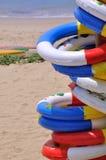 Boya de vida del día de fiesta de la playa del mar Fotografía de archivo